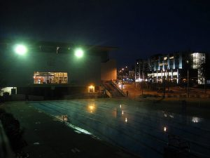 ubc outdoor pool under lights