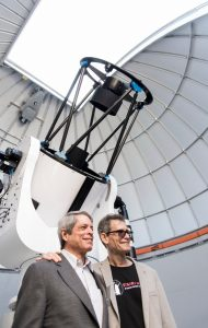 At the telescope with my brother, Lorne. Photo credit: SFU
