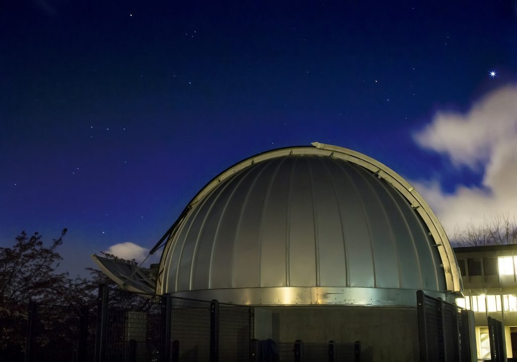 Orion, Taurus, and Venus, over the Trottier Observatory at SFU
