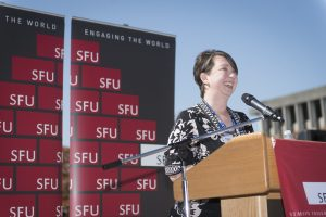 Suzanna Nagy at the opening of the observatory. Photo credit: Diane Mar-Nicolle, SFU