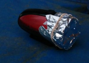 Flashlight with aluminum foil