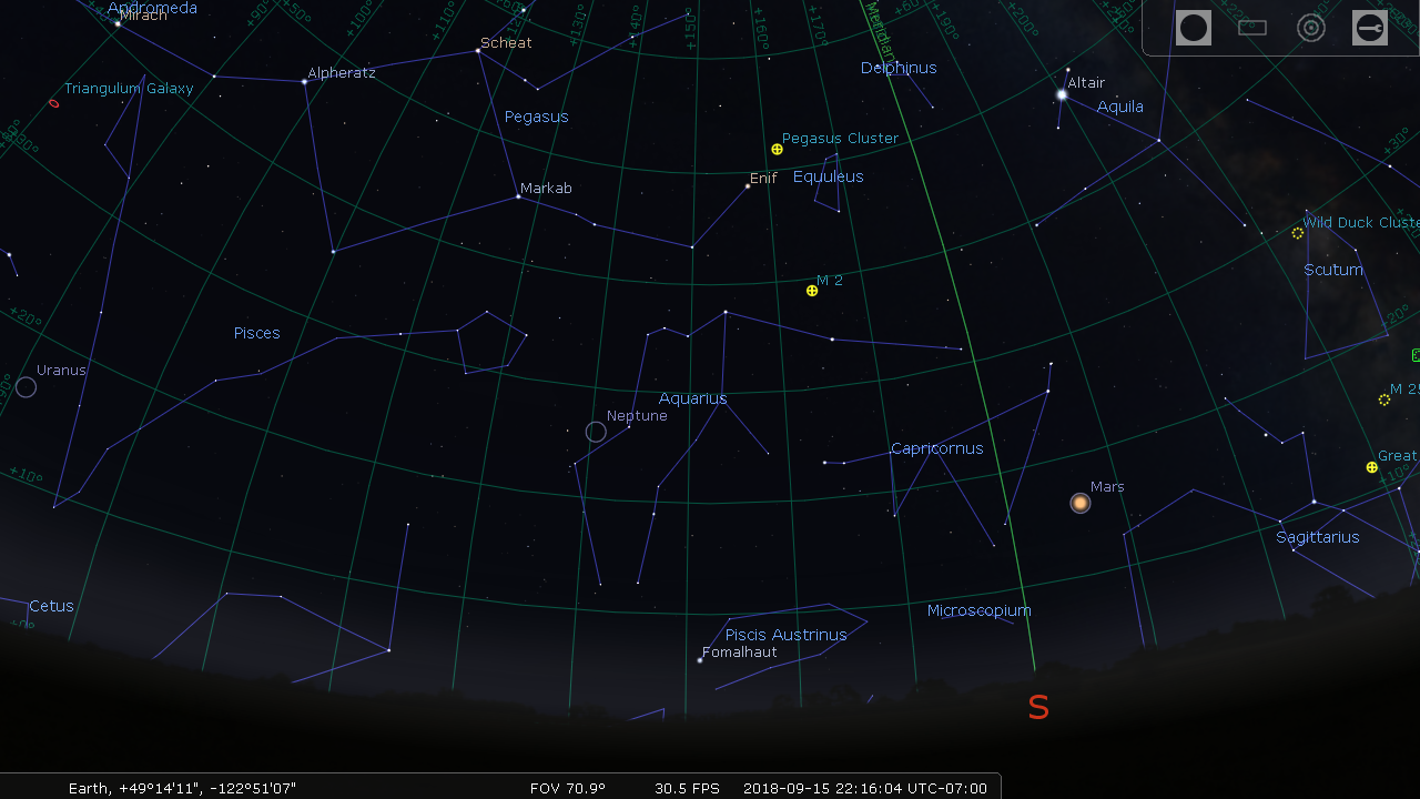 Sky map with Neptune between Phi Aqr and Hylor
