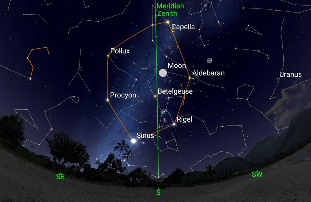 Sky chart for the Winter Hexagon