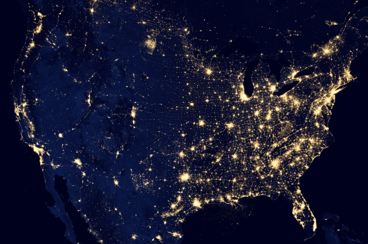 North America map showing light pollution