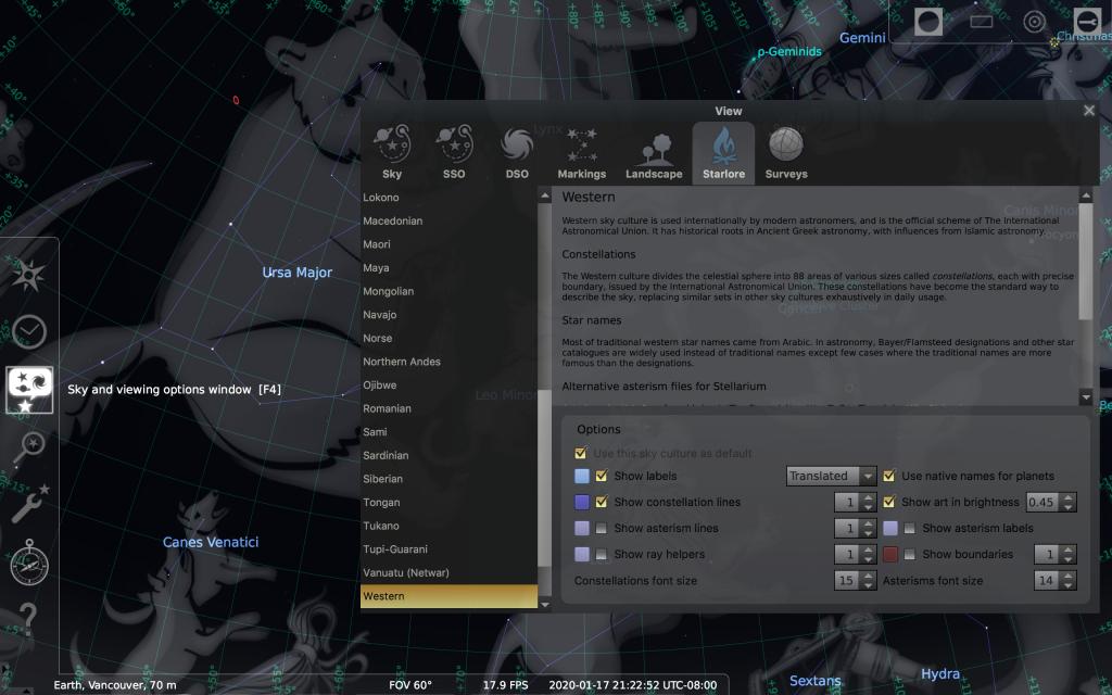 Screenshot Chnage Sky Culture in Stellarium
