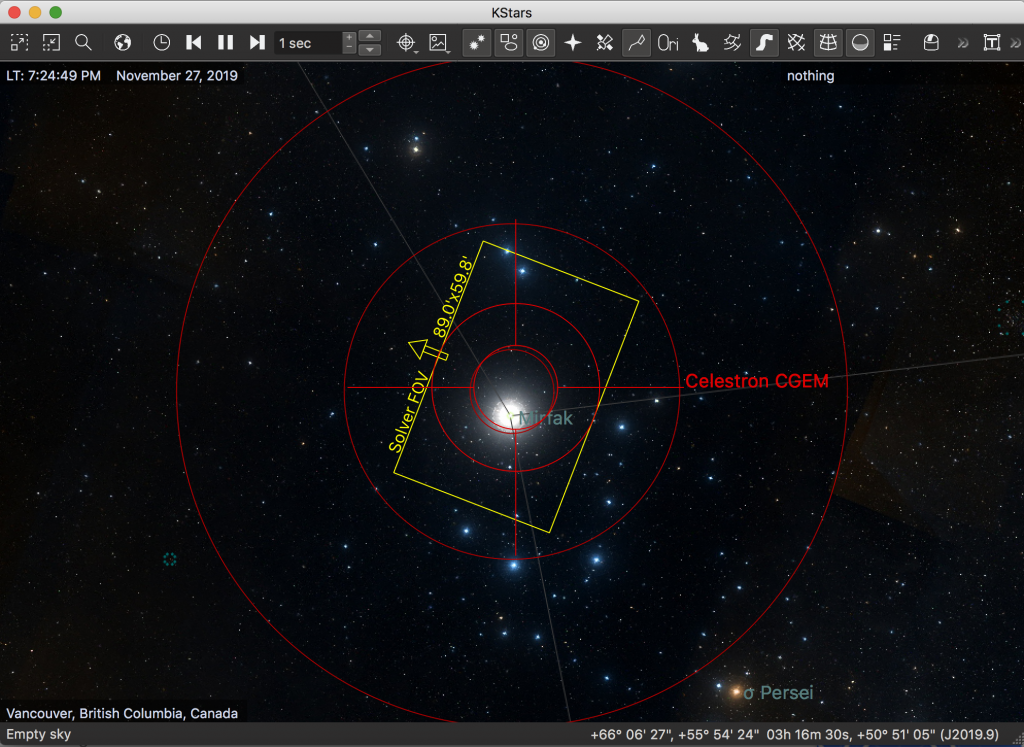 Screenshot of Kstars with FOV plus rotation after Plate Solving