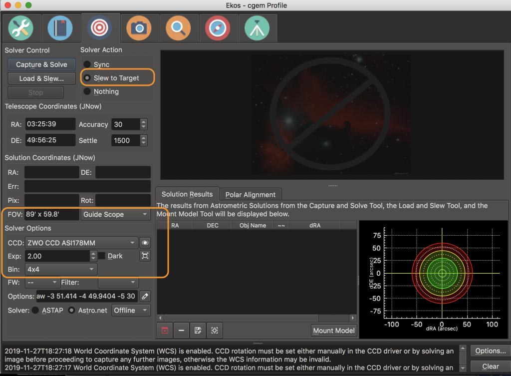 EKOS Alignment Module Screenshot