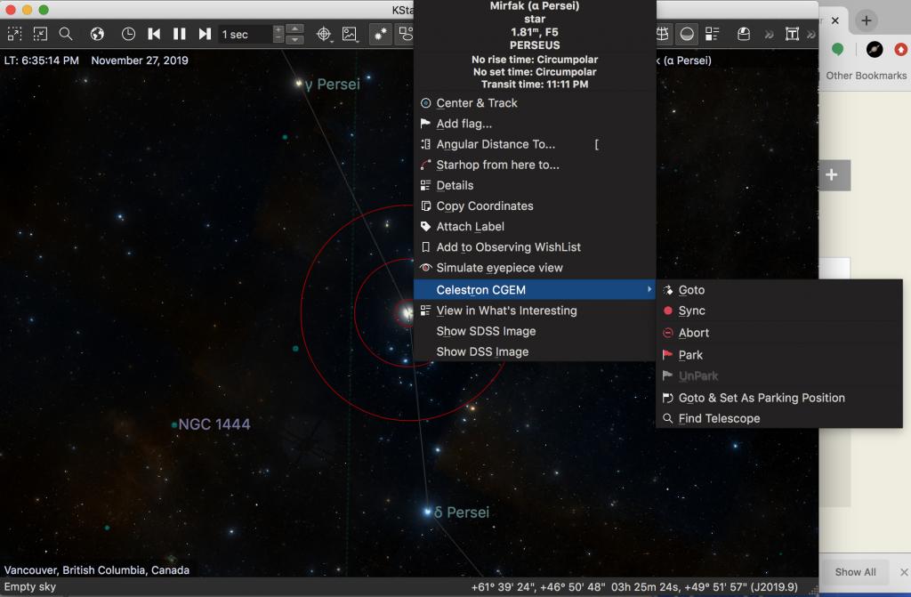 Screenshot of Kstars goto with Celestron CGEM mount.